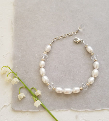 White freshwater pearl bridal bracelet handcrafted by Carrie Whelan Designs