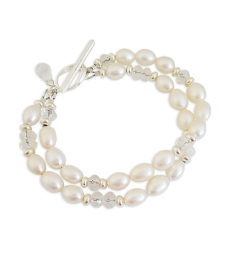 white freshwater pearl double strand bracelet by Carrie Whelan Designs