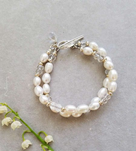 White freshwater pearl double strand bracelet for bride by Carrie Whelan Designs