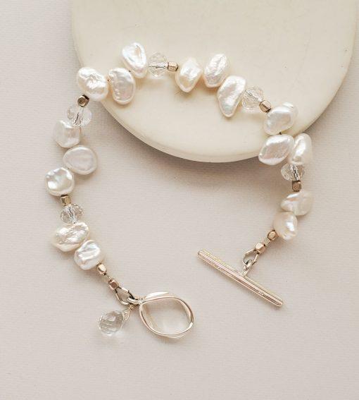 White keshi pearl bracelet handmade by Carrie Whelan Designs