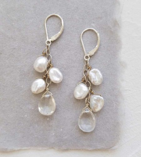 white keshi pearl and clear drop earrings handcrafted in sterling silver by Carrie Whelan Designs