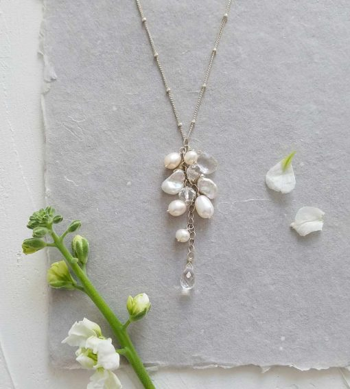 romantic freshwater pearl cluster pendant in silver by Carrie Whelan Designs
