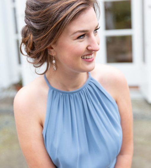 White pearl and dangle bridesmaid earrings by Carrie Whelan Designs