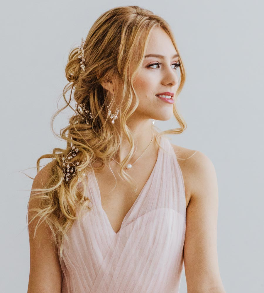 Romantic pearl jewelry and hair accessories handcrafted by Carrie Whelan Designs