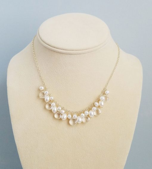 white pearl cluster chain wedding necklace handcrafted by Carrie Whelan Designs