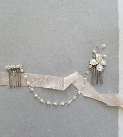 pearl flower hair chain handmade for brides by Carrie Whelan Designs