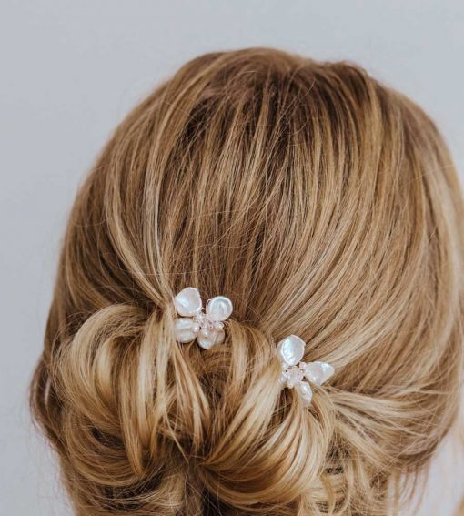 Pearl and Swarovski crystal flower hair pin handcrafted by Carrie Whelan Designs