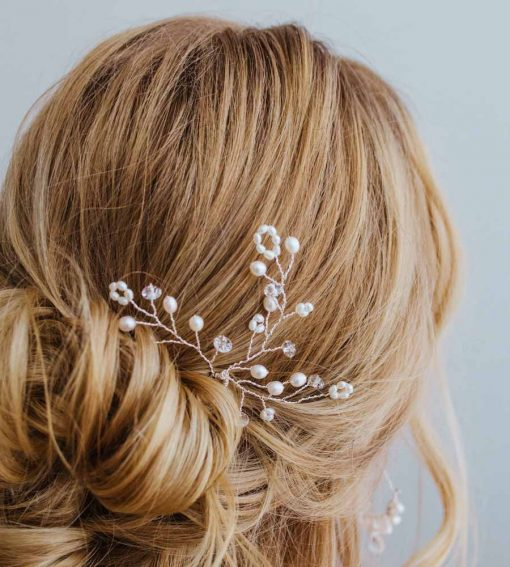 Pearl branch hair pin handcrafted by Carrie Whelan Designs