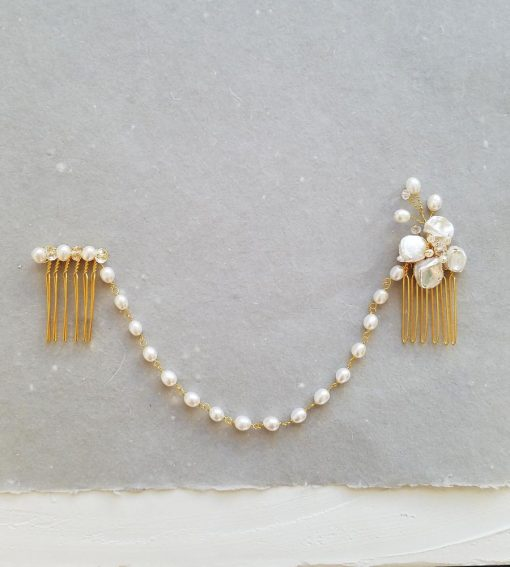 Hair chain with freshwater pearls in gold handmade bridal accessories by Carrie Whelan Designs