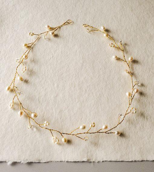 Delicate freshwater pearl hair vine in gold handmade Carrie Whelan Designs