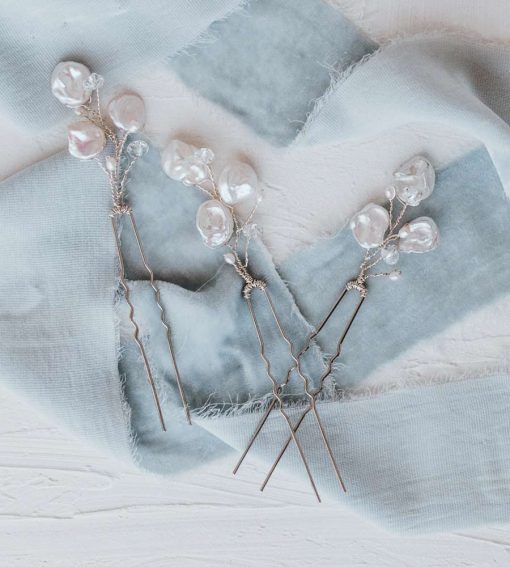 Delicate pearl floral hair pin handcrafted by Carrie Whelan Designs