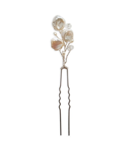 Delicate pearl floral hair pin for weddings handcrafted by Carrie Whelan Designs