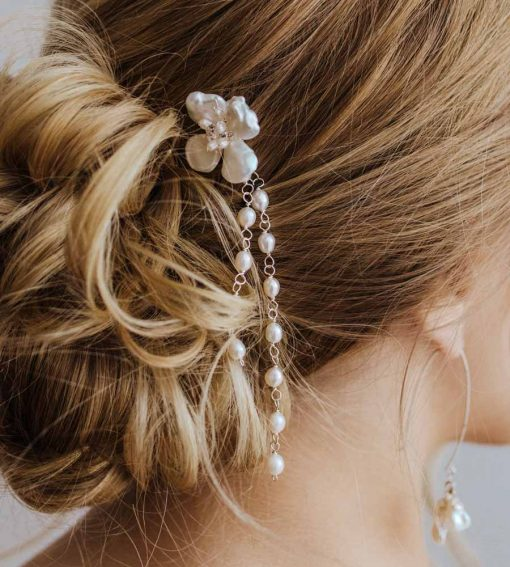 Floral hair pin for wedding handcrafted by Carrie Whelan Designs
