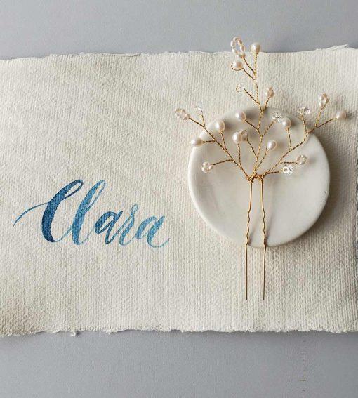 Freshwater pearl branch hair pin for weddings handmade by Carrie Whelan Designs