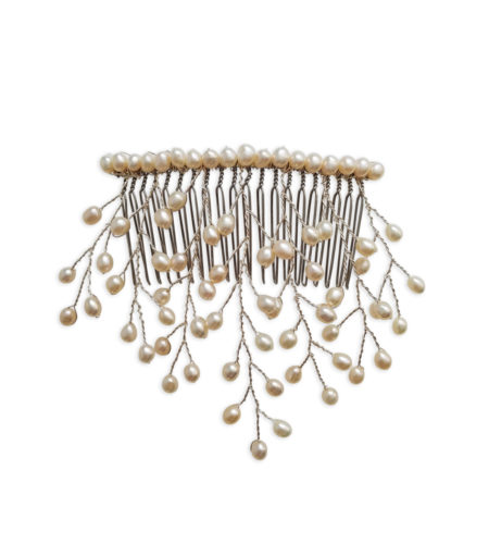 Freshwater pearl bridal hair comb handmade by Carrie Whelan Designs