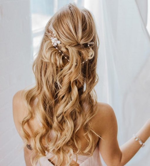Freshwater pearl wedding hair chain handcrafted by Carrie Whelan Designs
