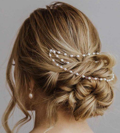 Pearl bridal hair chains for weddings by Carrie Whelan Designs