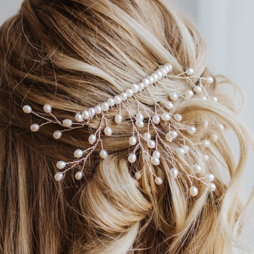 Handcrafted freshwater pearl bridal headpiece by Carrie Whelan Designs