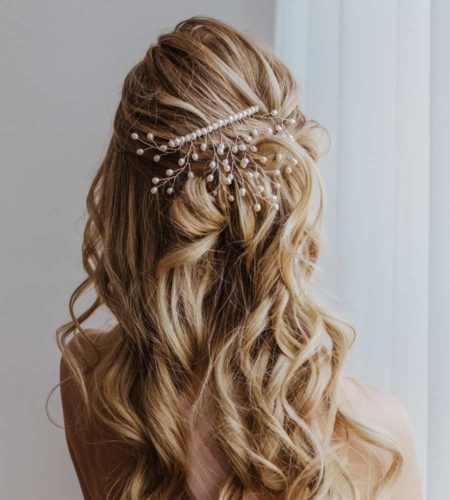 Handcrafted pearl bridal hair comb by Carrie Whelan Designs