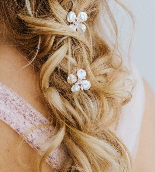 Keshi pearl flower hair pin handmade by Carrie Whelan Designs