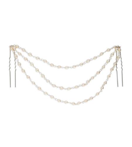 Pearl bridal hair chains handmade by Carrie Whelan Designs