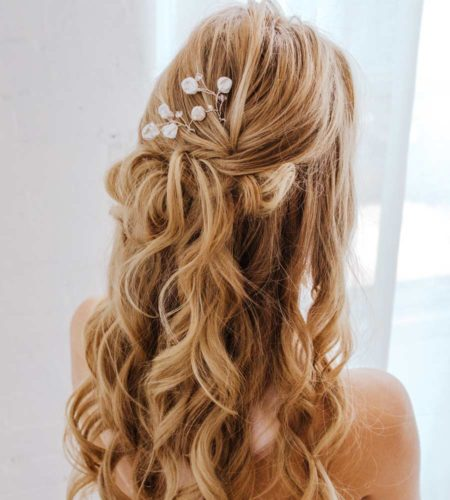 Pearl bridal hair pin handcrafted in silver by Carrie Whelan Designs