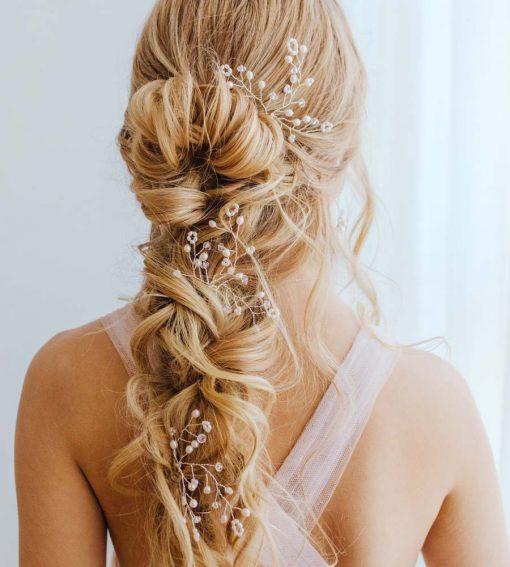 Pearl bridal hair pin handmade by Carrie Whelan Designs