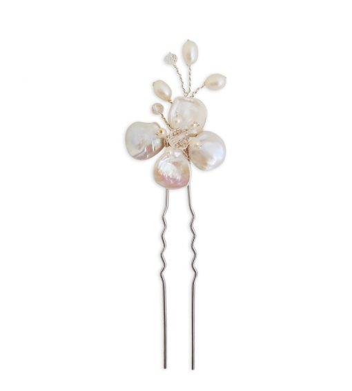 Pearl floral hair pin handmade by Carrie Whelan Designs