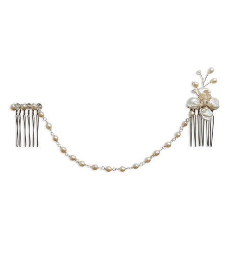 pearl flower hair chain handcrafted by Carrie Whelan Designs