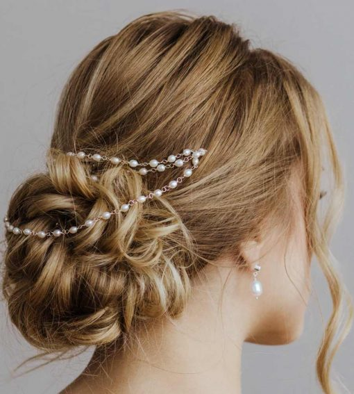 Silver and pearl headchain handcrafted by Carrie Whelan Designs