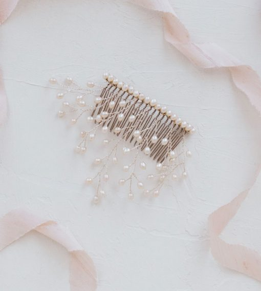 Silver pearl wedding hair comb handcrafted by Carrie Whelan Designs