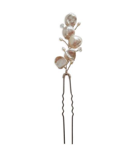 White pearl bridal hair pin handmade by Carrie Whelan Designs
