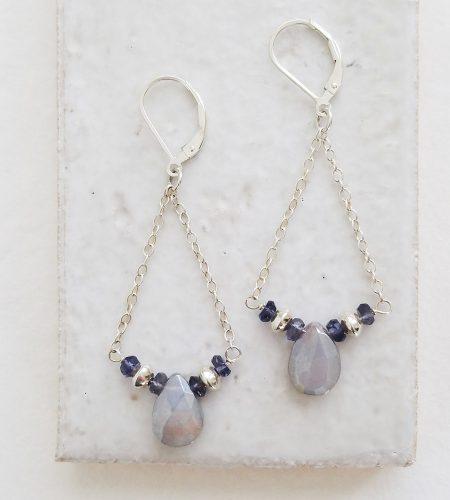 Iolite and moonstone swing earrings in silver handmade by Carrie Whelan Designs