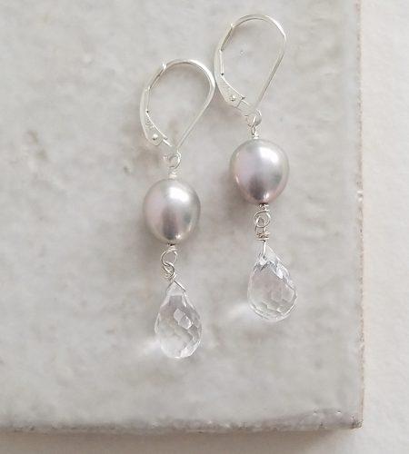 Gray pearl clear drop earrings handmade by Carrie Whelan Designs