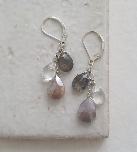 Handmade gray gemstone cluster earrings by Carrie Whelan Designs