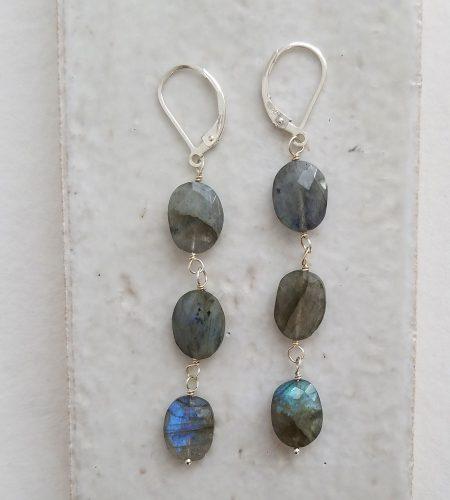 Linear labradorite earrings in silver handmade by Carrie Whelan Designs