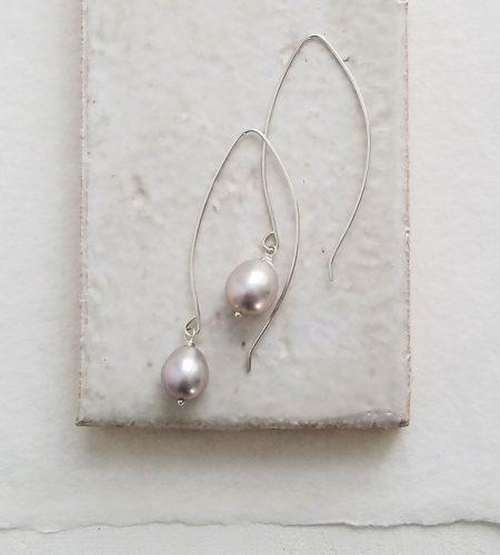 Linear drop gray pearl earrings in sterling silver handmade by Carrie Whelan Designs