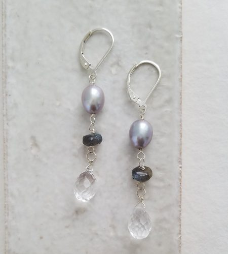 Gray pearl and labradorite drop earrings in silver handcrafted by Carrie Whelan Designs
