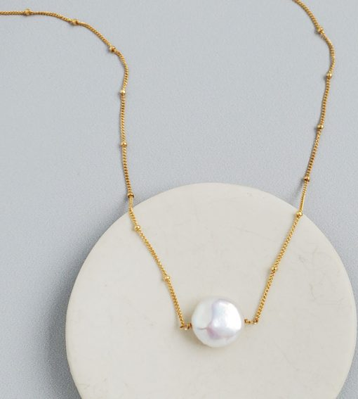 coin pearl choker necklace in 14kt gold fill handmade by Carrie Whelan Designs
