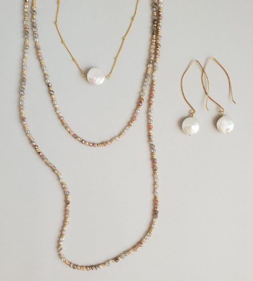 Moonstone and coin pearl gold jewelry handmade by Carrie Whelan Designs