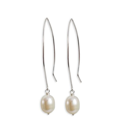 Large pearl dangle earrings handcrafted in silver by Carrie Whelan Designs