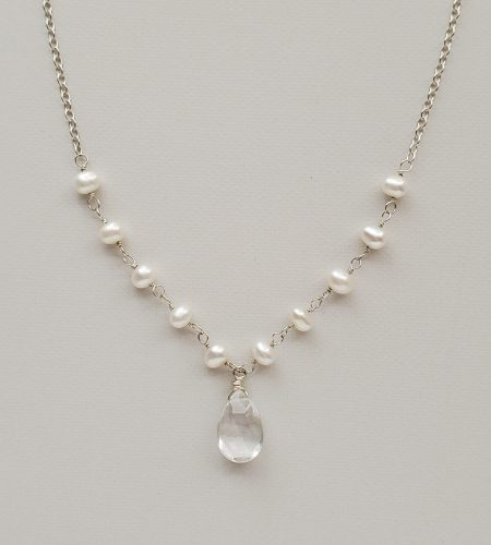 Delicate pearl and gemstone drop necklace handmade by Carrie Whelan Designs