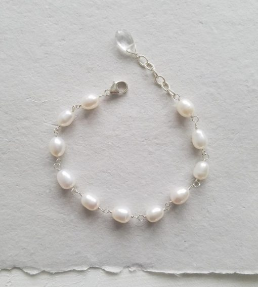 Adjustable freshwater pearl chain bracelet hand wrapped by Carrie Whelan Designs