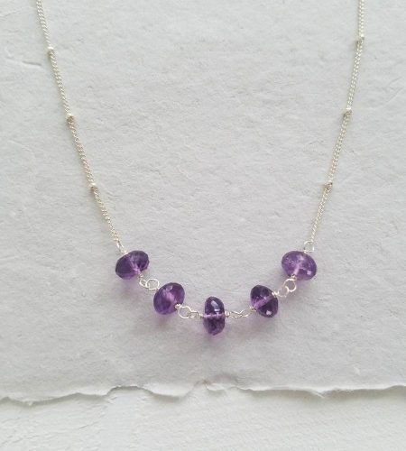 Amethyst and silver beaded chain necklace handcrafted Carrie Whelan Designs