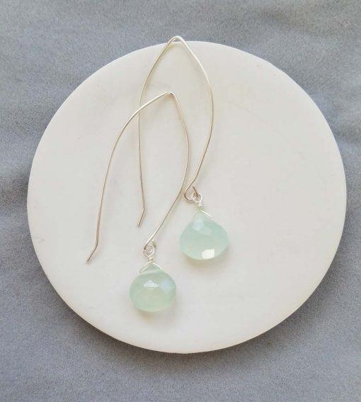Aqua chalcedony long wire earrings handmade in sterling silver by Carrie Whelan Designs