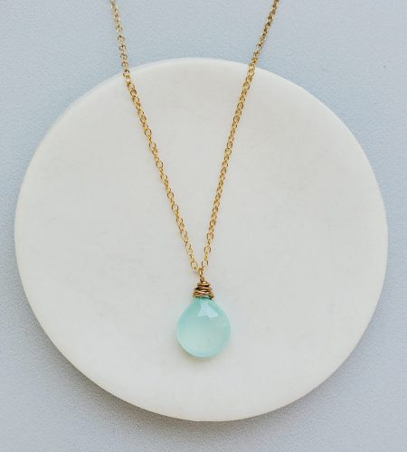 Aqua chalcedony pendant necklace in 14kt gold fill handmade by Carrie Whelan Designs