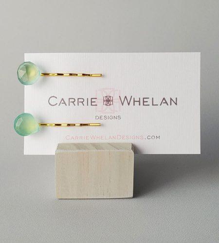 Aqua gemstone bobby pin set in gold handmade by Carrie Whelan Designs