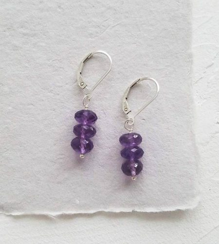 Dainty amethyst stack earrings in silver handcrafted by Carrie Whelan Designs