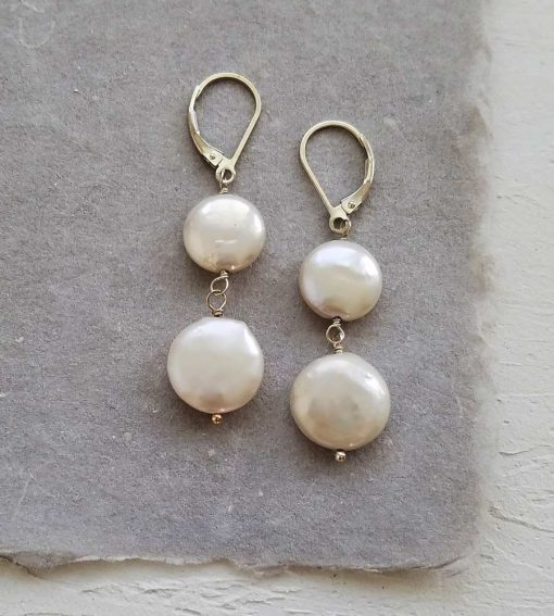 Double coin pearl earrings handmade in silver by Carrie Whelan Designs
