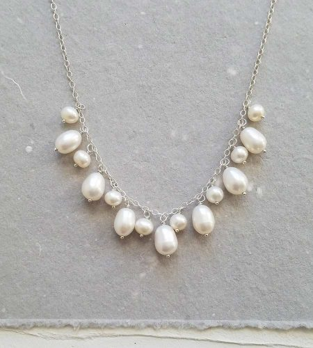 Freshwater pearl cluster necklace in sterling silver handmade by Carrie Whelan Designs